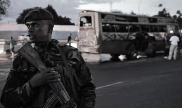 Damaged bus after the 4 May attack in Nairobi