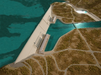 Illustration of Ethiopia's GERD Dam.